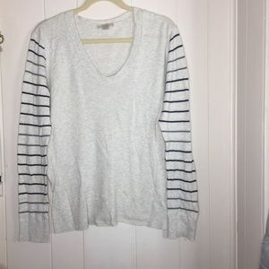 LOFT stripped sleeve top size Large